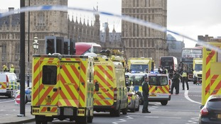Westminster Bridge is closed off in the aftermath of the attack