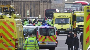 Emergency services on Westminster Bridge after the attack.