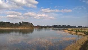 Sunny spells over Marsham Creek, Suffolk