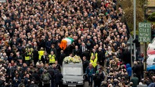 Thousands filled the streets of Derry as Martin McGuinness's coffin was carried from his home in the Bogside.
