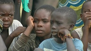Kids in a refugee camp in Eastern Congo. Thousands have been forced to flee their homes because of the fighting