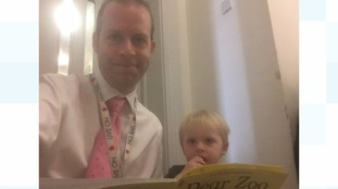 Jonathan Reynolds, MP for Stalybridge and Hyde with son at the nursery in Parliament