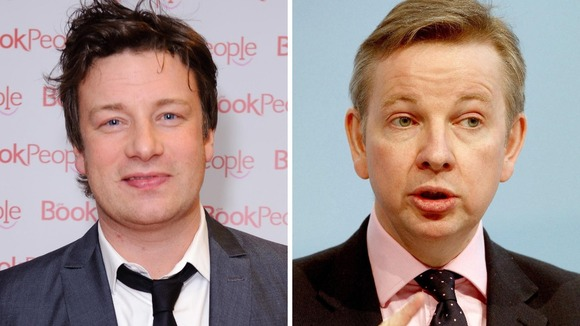 Jamie Oliver and Michael Gove in separate images