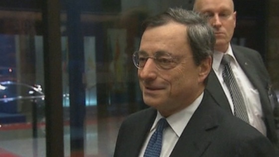 European Central Bank President Mario Draghi pictured after the meeting