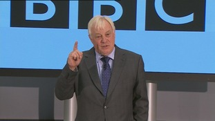 BBC Trust Chairman Lord Patten pictured announcing Lord Tony Hall as the next Director-General