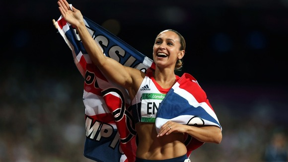 Olympian Jessica Ennis celebrating after her London 2012 heptathlon victory