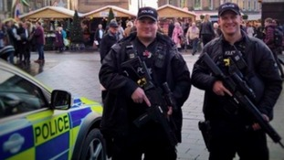 Armed police on patrol in Newcastle