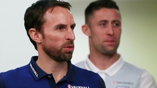 Gareth Southgate England manager, with defender Gary Cahill