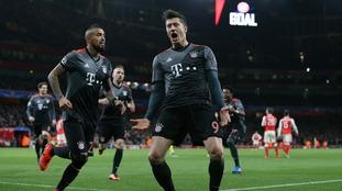 Bayern celebrate another goal vs Arsenal