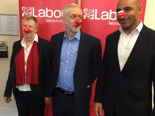 Lesley Mansell, Jeremy Corbyn and Mayor Marvin Rees wear Red Noses,