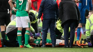Seamus Coleman is treated on the pitch