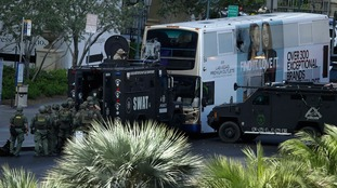 Crisis negotiators, robots and armoured vehicles surrounded the bus on an otherwise empty Las Vegas strip.