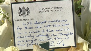 Theresa May's card of sympathy to those killed and their families.