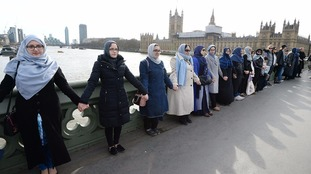 Women form human chain on Westminster Bridge to condemn 'abhorrent' terror attack