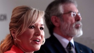 Michelle O'Neill, leader of Sinn Féin in Northern Ireland, with Gerry Adams, party leader.