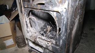 Tumble dryer fire destroys family home