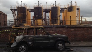 The fire damaged distillery plant