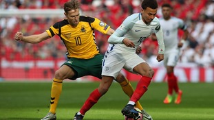 Dele Alli challenging vs Lithuania