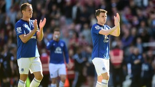 Phil Jagielka and Seamus Coleman of Everton