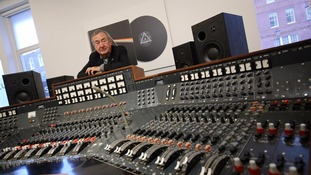 Pink Floyd's Nick Mason beside the famous console