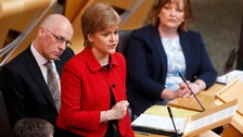 Nicola Sturgeon speaking at the Scottish Parliament in Edinburgh