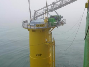 The first of the foundations were installed 30 kilometers off the Suffolk coast