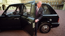Prince Philip in his Metrocab taxi