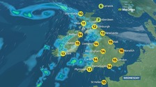 Wednesday will see top temperatures of 16C (61F).