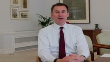 Jeremy Hunt has sent a video to healthcare staff.