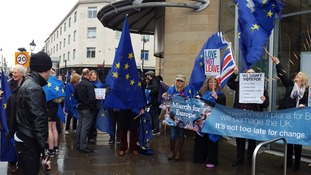 Campaigners in Sunderland protesting against the move to leave the EU