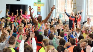 School children get a visit from Mr Motivator after posting video inspired by his moves