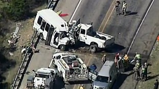 Thirteen dead and two injured in Texas church minibus crash