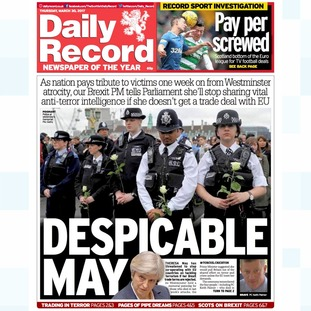 Thursday's edition of the Daily Record.