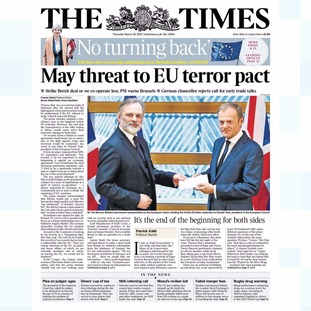 Thursday's edition of The Times.