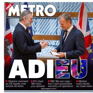 Thursday's edition of the Metro.