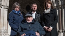 Noel Conway with his wife Carol (left), stepson Terry McCusker (centre back) and Sarah Wootton, CEO of Dignity in Dying (right)