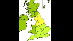 Key - yellow; cold weather alert, light green; prepare for winter, dark green; region not included