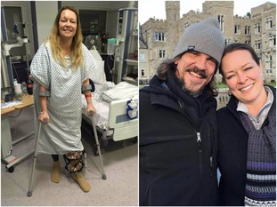 Melissa Cochran in hospital and (right) with husband Kurt before the attack.