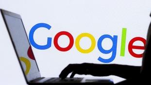 Google logo and laptop