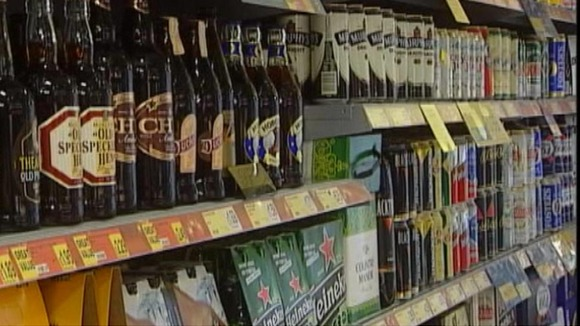 Alcohol on a supermarket shelf.