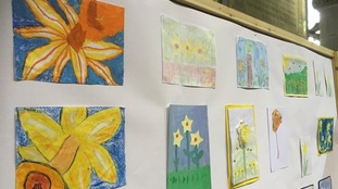 Children's artwork celebrating daffodils.