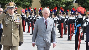 The Prince of Wales during a visit to the Carabineri Headquaters in Vicenza, Italy