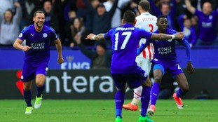 Wilfred Ndidi celebrates scoring Leicester's first goal