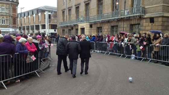 Hundreds of people line the streets of Cambridge and wait for the Royal couple.