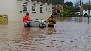 Fuel is taken to a pump by boat in Somerset.