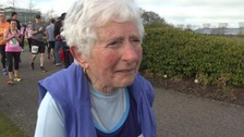 83-year-old Margaret Smith ran to raise money for cancer charities.