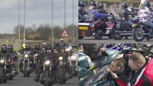 Hundreds of bikers ride out in support of a man who has months to live