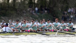 Cambridge Men's crew in action during the Men's Boat Race on the River Thames, London.
