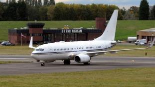 Plane lands at Birmingham Airport