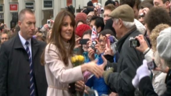 The Duchess chats to the waiting crowd.